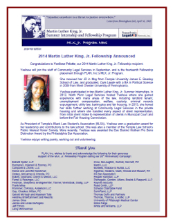 MLK Newsletter - Fall 2014