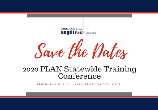 Save the Dates - 2020 PLAN Conference, September 10-11, 2020