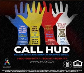 "Call HUD: Because Sexual Harassment in Housing is Illegal"" Campaign logo"