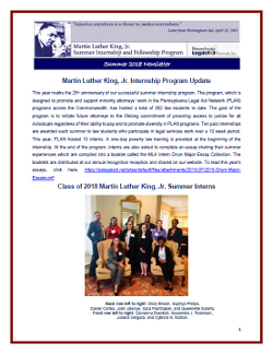 MLK Program Newsletter - Summer 2018