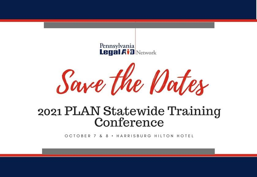 Save the Dates -PLAN Statewide Training Conference: October 7 & 8
